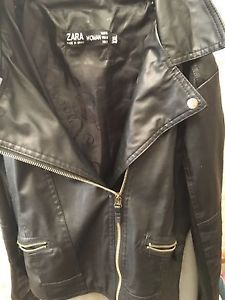 ZARA NEW BLACK REAL  LEATHER BIKER JACKET WITH SILVER ZIPS SIZE M ( Europe Size)  | eBay