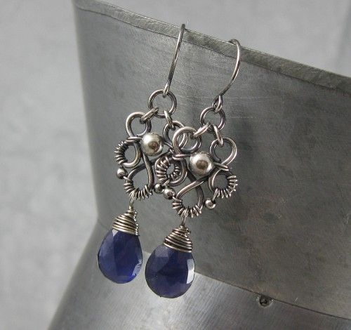 Blue Iolite and Sterling Silver Victorian Style Earrings