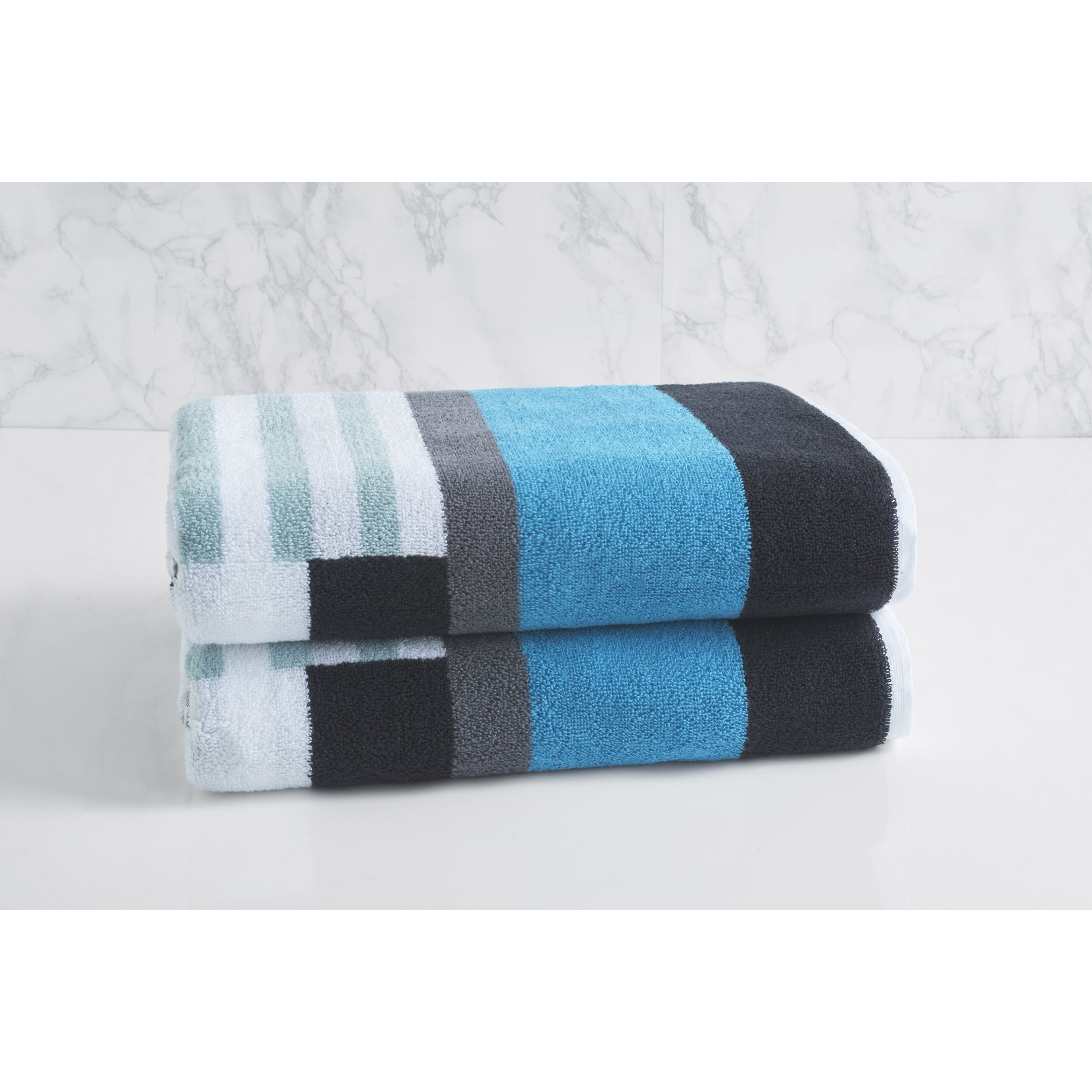 Decorative Bath Towel Sets Loftloftex Trestle Bath Towel Set Of 2 Sterling Blue Grey