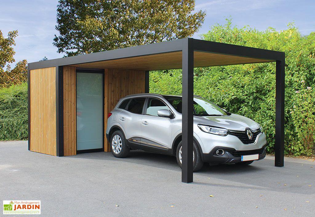 Carport Et Abri Rangement En Aluminium Bois Et Verre Maluwi 20 M Dessins Carport Abri De Voiture Moderne Ports De Voiture