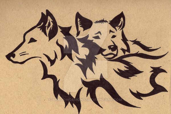 Lineart Wolf Tattoo : Tribal wolf mates three by shadowdemon77 on deviantart pyrography