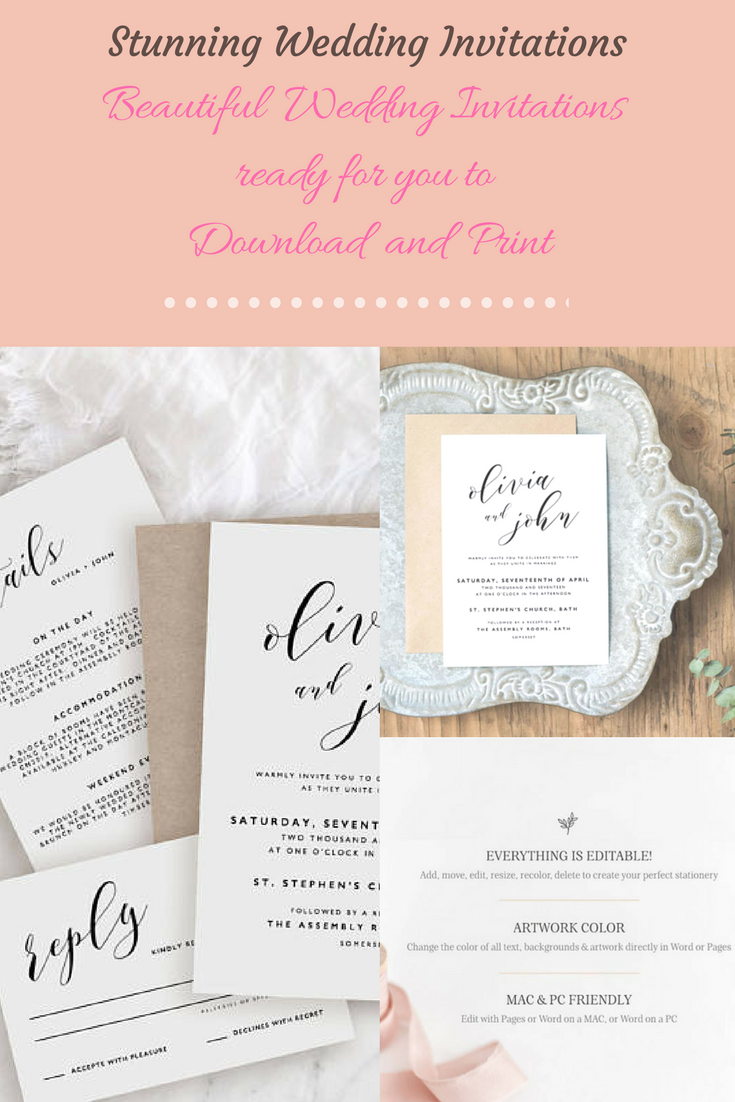 Stunning Editable Wedding Invitation Template Printable Wedding