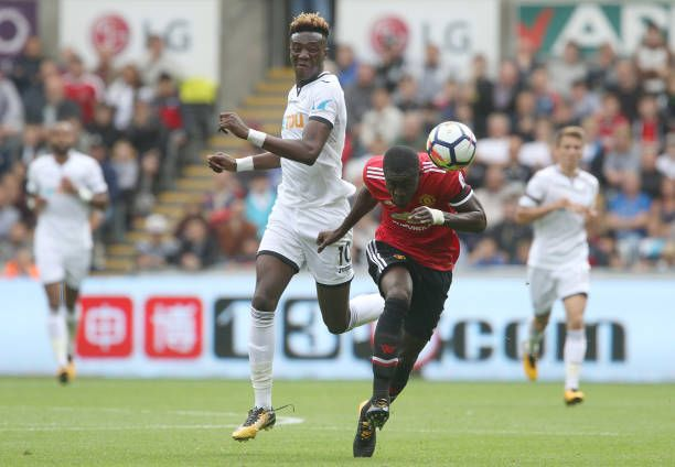 Tammy Abraham Of Swansea City Is Marked By Eric Bailly Of