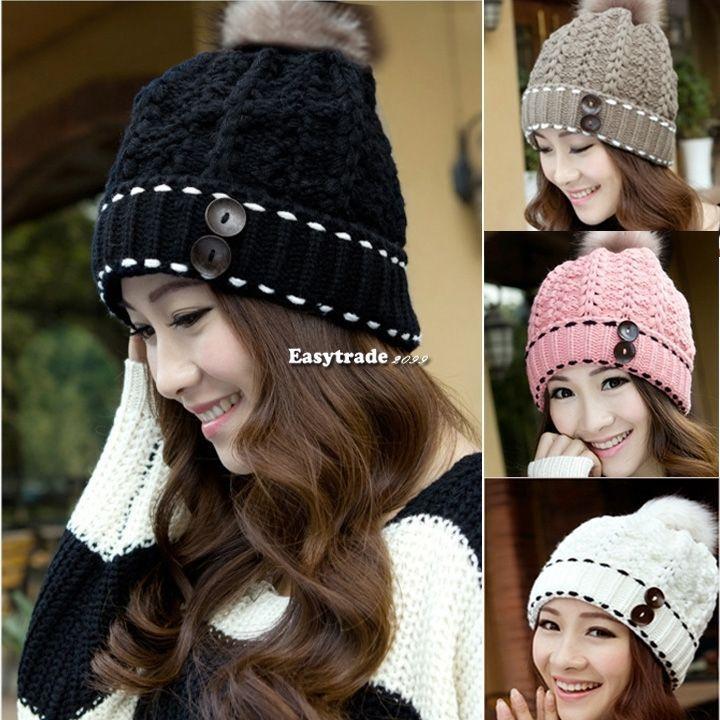 2c78b8d0a0e Hot Women Winter Warm Button Crochet Knit Beret Hat Ski Beanie Fluffy Ball  Cap