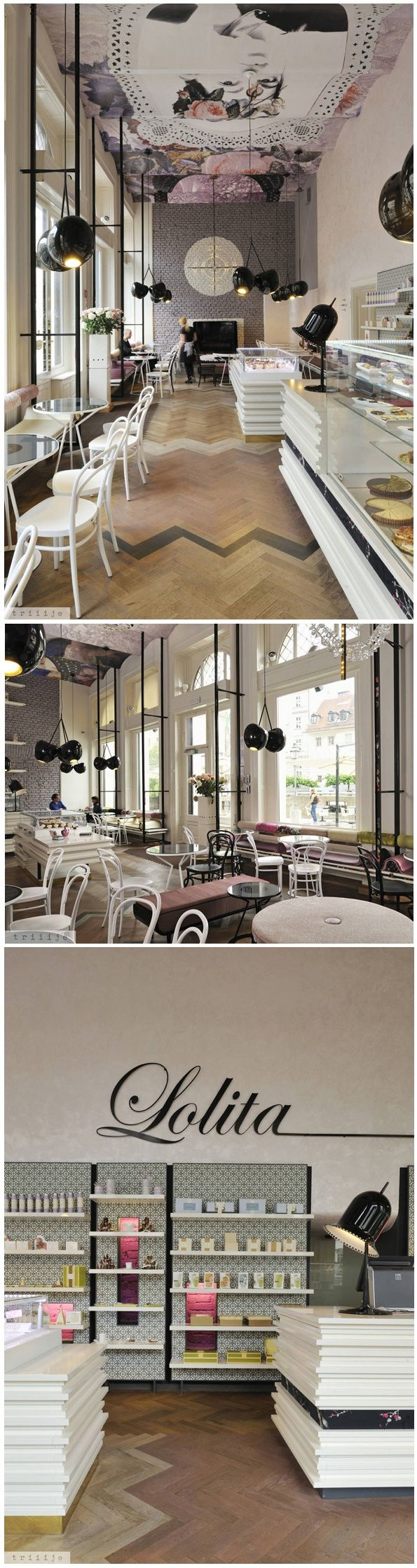 Modern cafe in Paris with high ceilings and interesting