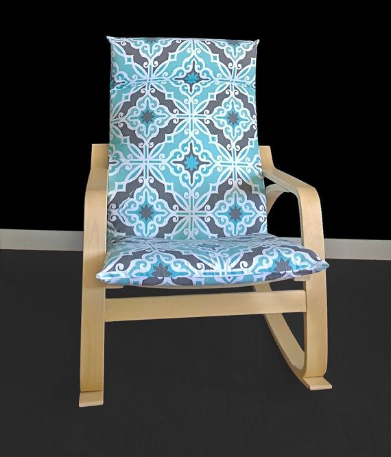 IKEA POÄNG Cushion Slipcover  Harford Spirit Blue, moroccan tile by RockinCushions