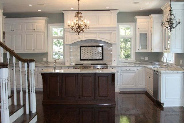 White Kitchen Brown Island Dark Floors Paint Home Decor Luxury Kitchens Home Brown Kitchens