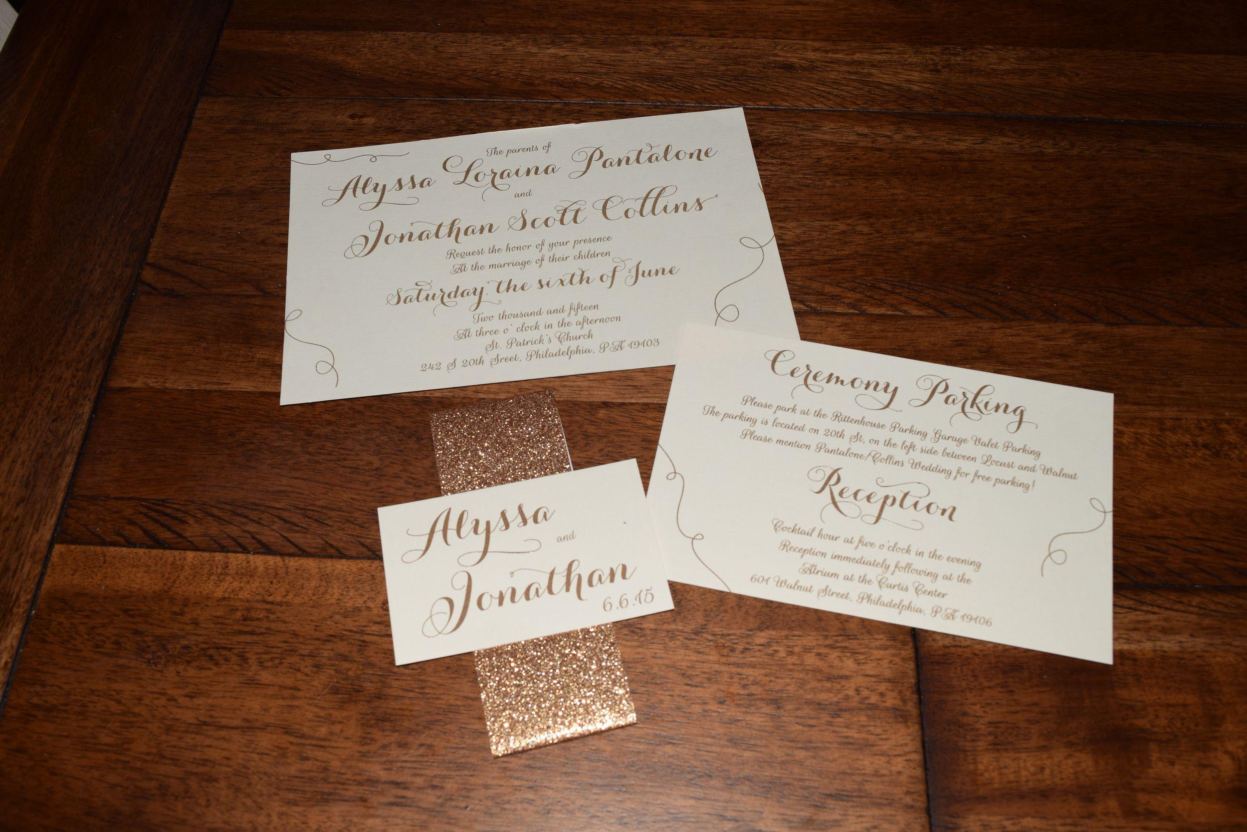 Wedding Invitation Layer Style Thermography Prints Glitter