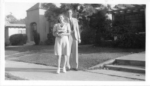 Photograph Snapshot Vintage Black and White: Couple Dress Sidewalk Suit 1940's