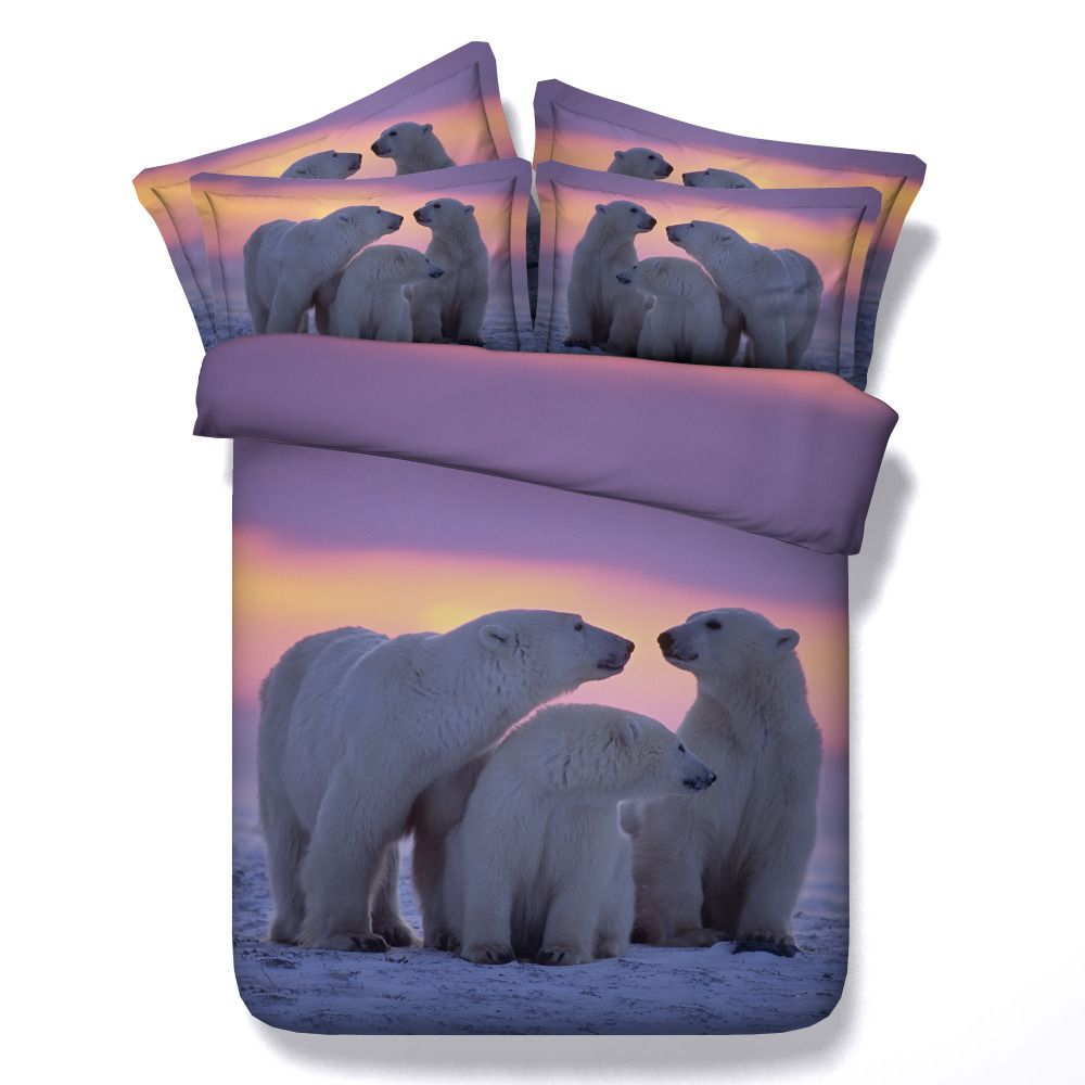 White Polar Bear Comforter Bedding Sets King Queen Twin Single Size Sunset  3d Printing Duvet Cover