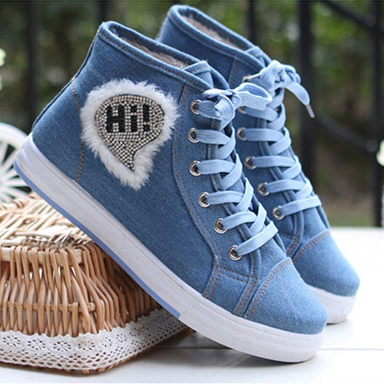 Plus velvet high-top canvas shoes girls