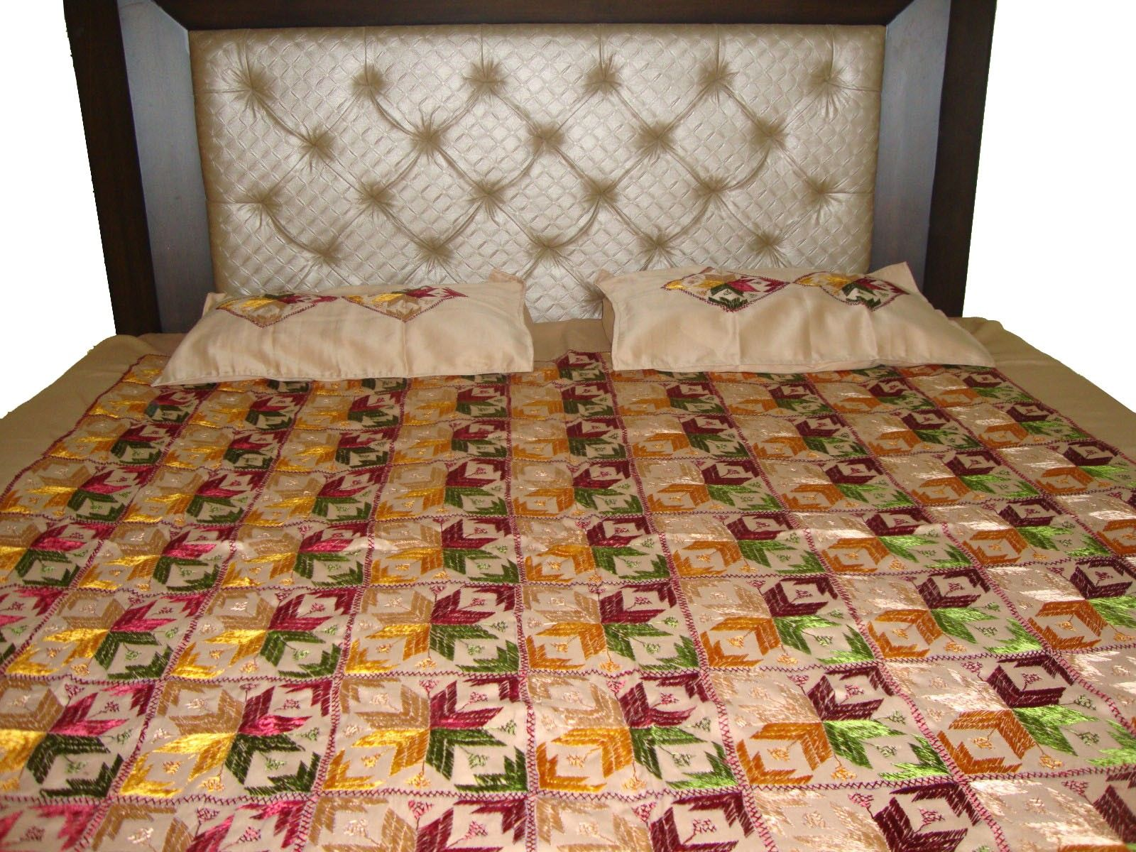 beige floral patterened phulkari double bed cover with 2 pillow