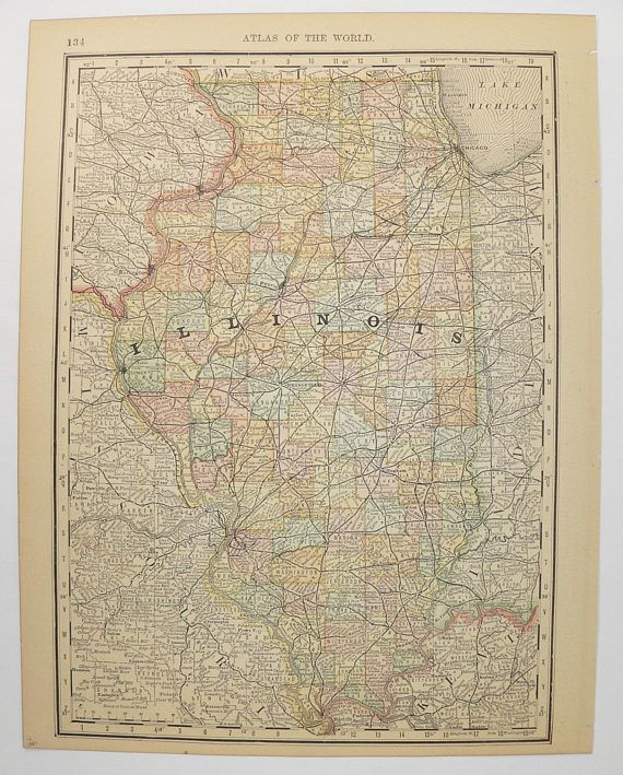 1887 Vintage Map of Illinois State Map Antique Minnesota Map