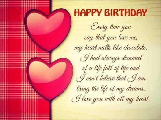 Happy Birthday Romantic Lovely Wishes Cards Messages For