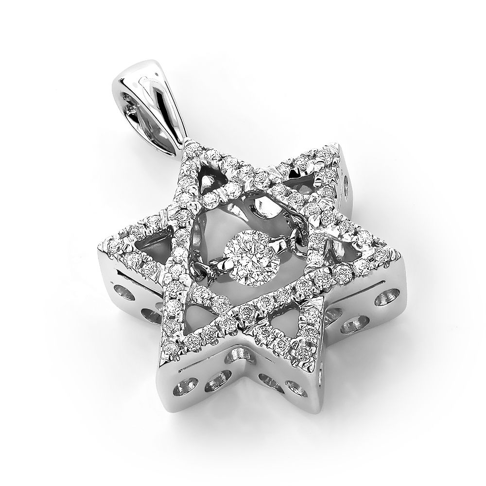 Ladies 14k gold star of david diamond pendant 031ct dancing ladies 14k gold star of david diamond pendant 031ct dancing diamonds aloadofball Choice Image