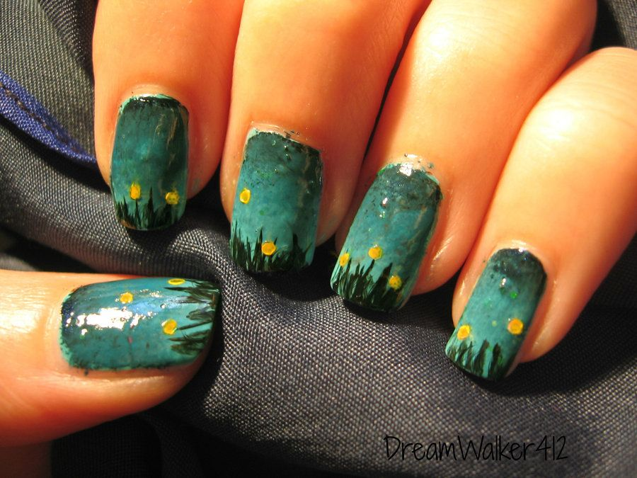 Fireflies Nail Art This Is Kind Of Rough Looking But I Like The