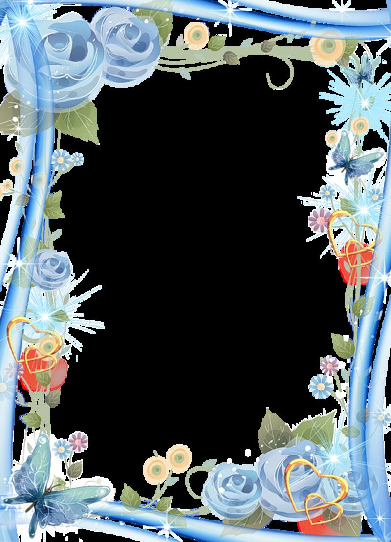 Днем рождения, рамка голубая для открытки
