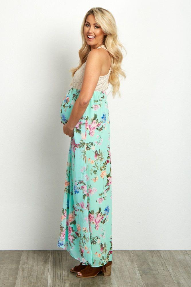 d2d77e5f27 Mint-Green-Crochet-Top-Floral-Maxi-Dress | Rock that Belly ...