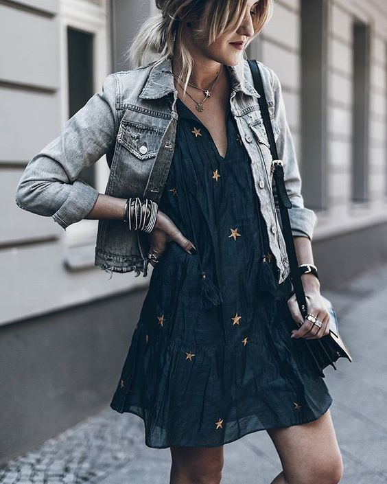 This Worn Black Denim Jacket Is A Great Pairing For This Halloween
