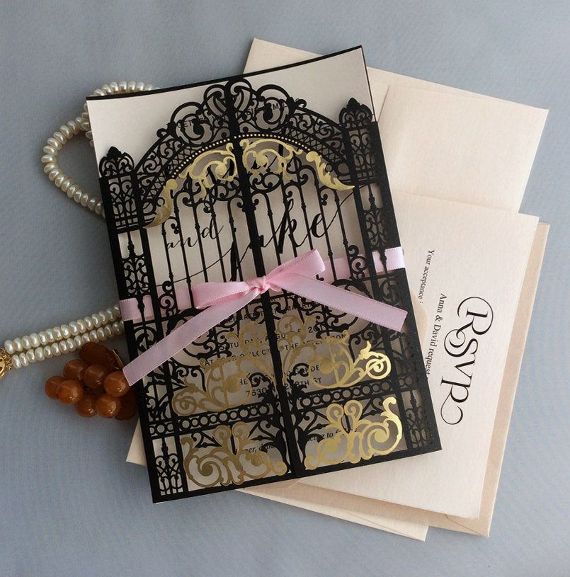 super unique laser cut wedding invitations%0A Personalized elegant laser cut black palace gate invitation gold foilded  with pink ribbon gate folding Wedding