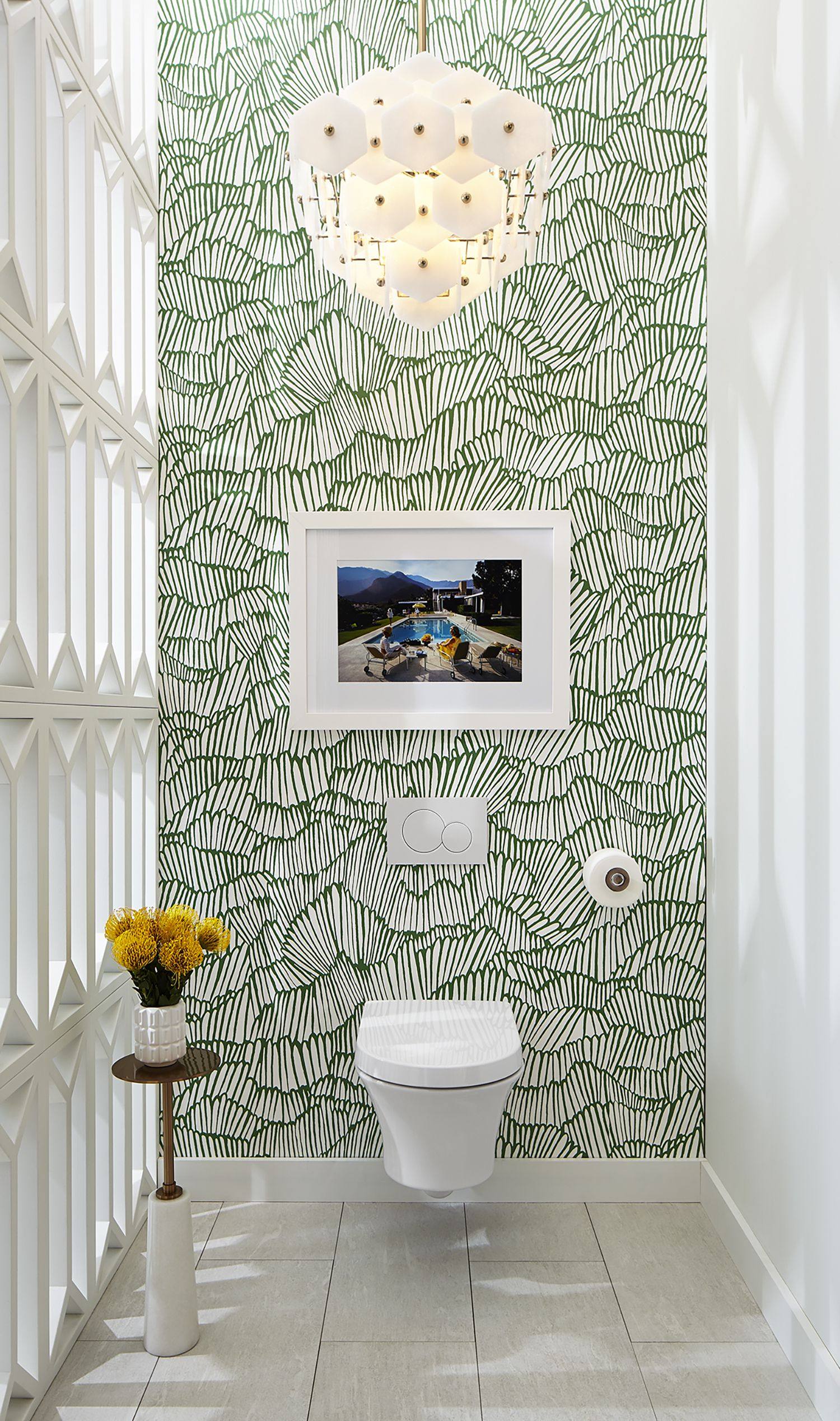 In their DXVDesignPanel vignette Pulp Design Studios opted to use the Seagram Wall Hung Toilet as a gallery piece creating a segregated space using