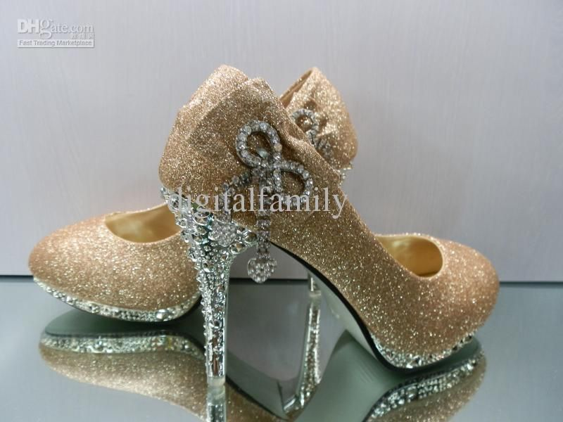 Wholesale Heels Shoes - Buy Women Gold Black Red Color Waterproof Diamond  Crystal Bow Dazzling Bridal Wedding Heels Shoes in Box d2dcfc5e021c