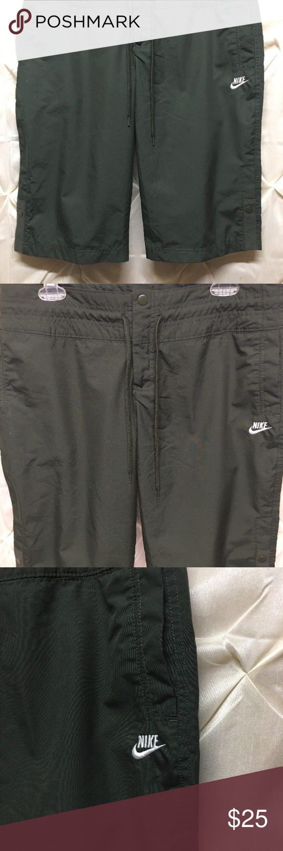 e16960a8186a1 mens NIKE sportswear shorts Olive Green Medium Men s Nike shorts size  medium waist 34 36. Features zipper front snap button with drawstring.
