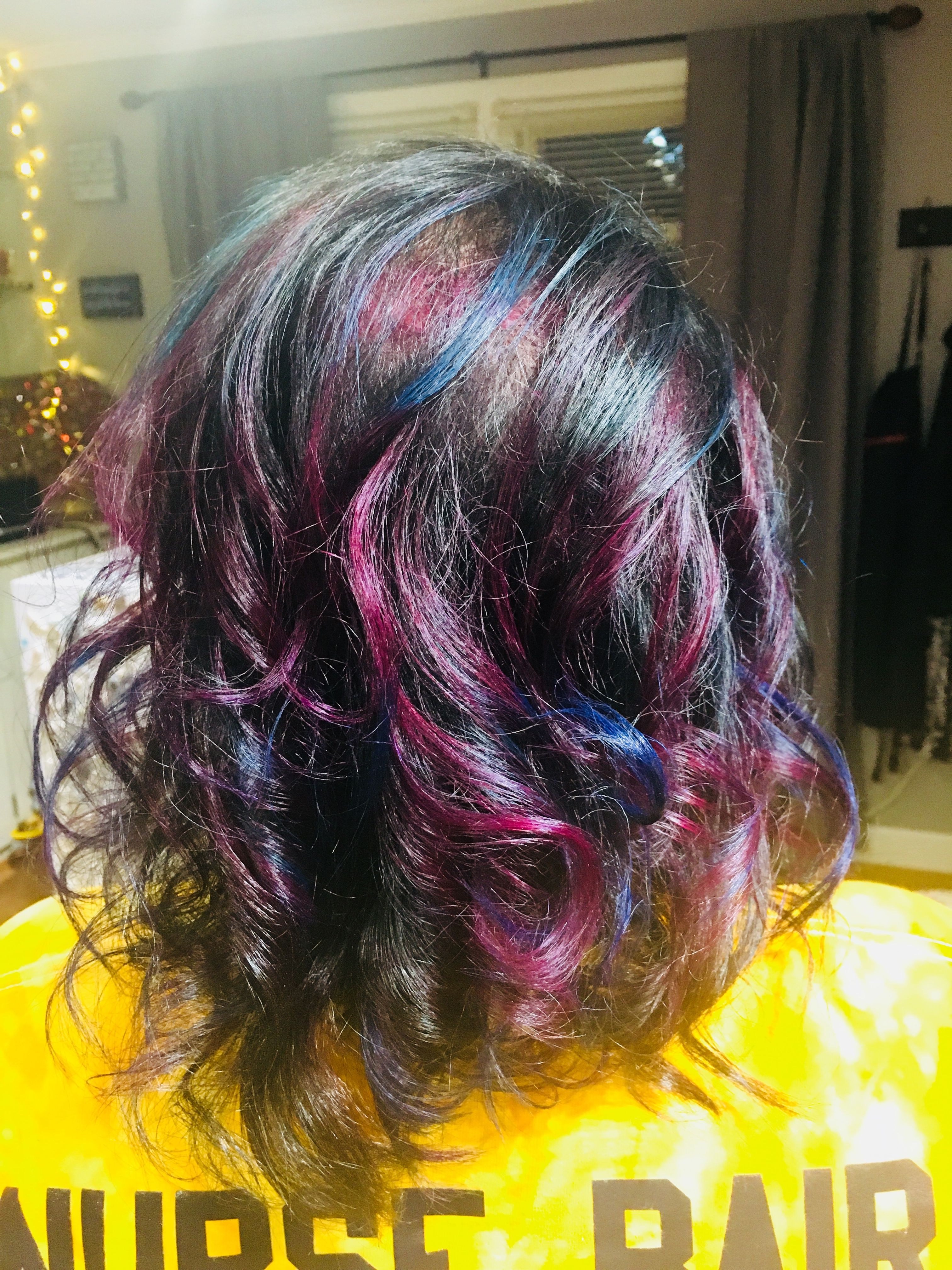 Very dark brown Hair with blue and purple highlights by Amanda