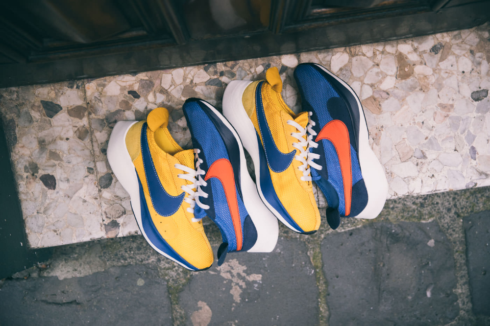 Nike Moon Racer Qs Mountain Blue Team Orange Midnight Navy Yellow Ochre Gym Blue Sail Fashion Boutique Sneakers Sneakers Nike