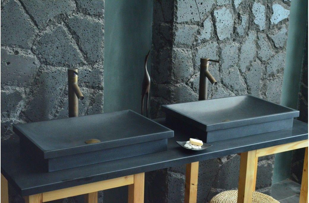 Vasque En Pierre Evier En Granit Noir 60x40 Dune Shadow Interiors