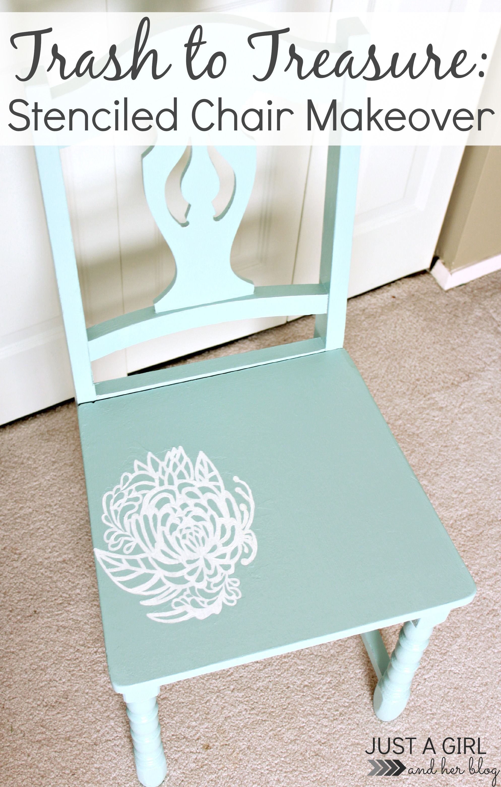 Trash to Treasure Stenciled Chair Makeover Pinterest