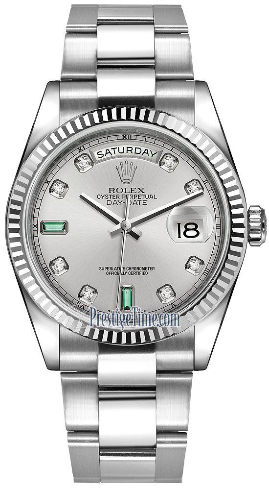 537d98323da Rolex Day-Date 36mm White Gold Fluted Bezel 118239 Rhodium Diamond Emerald  Oyster