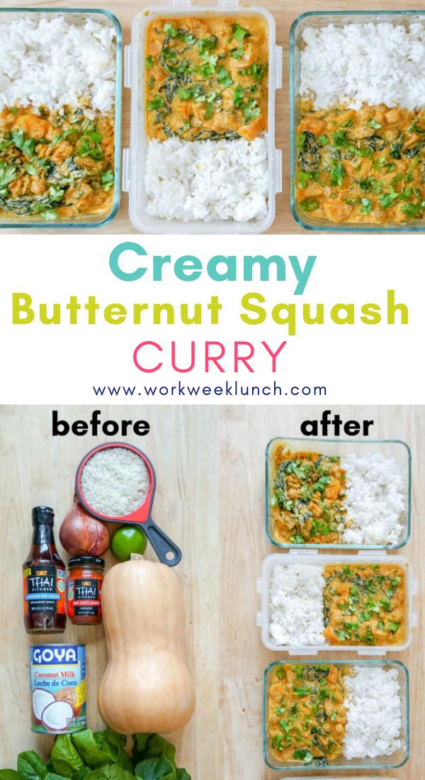 Creamy Vegan Butternut Squash Curry In 2020 Vegetarian Meal Prep Veg Meal Prep Curry Recipes Easy