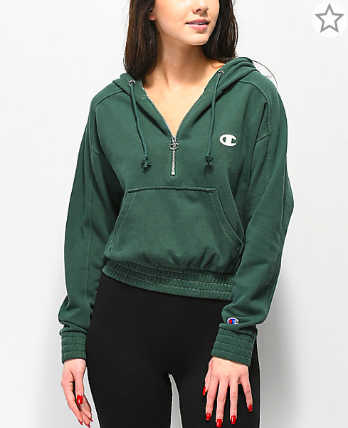2d7f8f724fab8 Champion Vintage Dyed Fleece Half-Zip Green Hoodie in 2019 ...