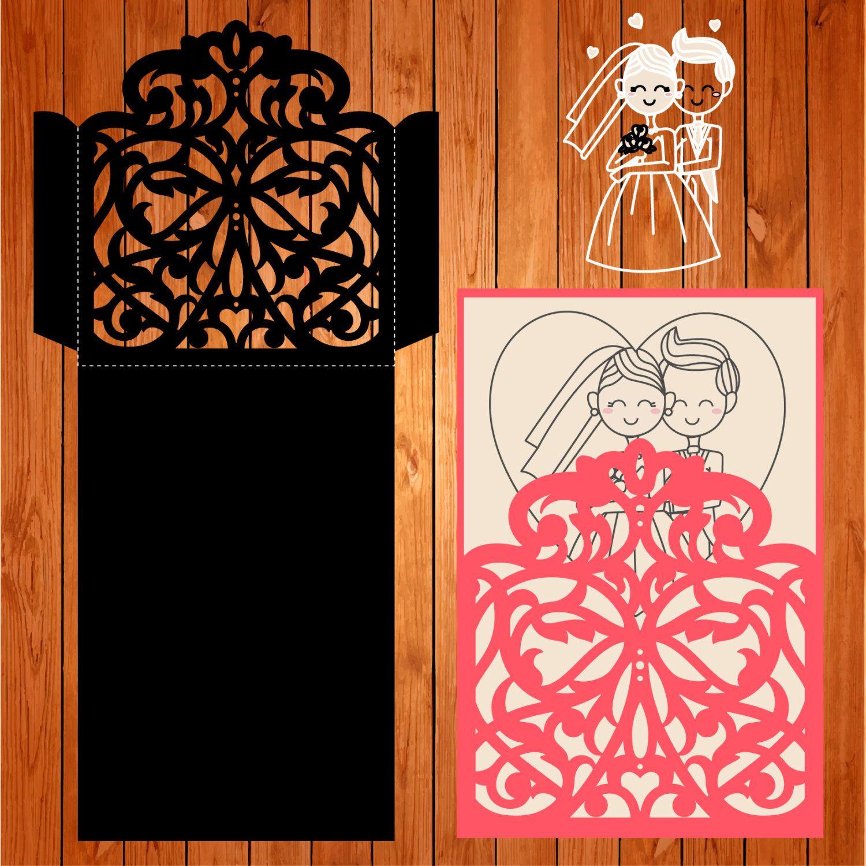 Sobre de la boda tarjeta plantilla, arabescos, figuras (studio V3 ...