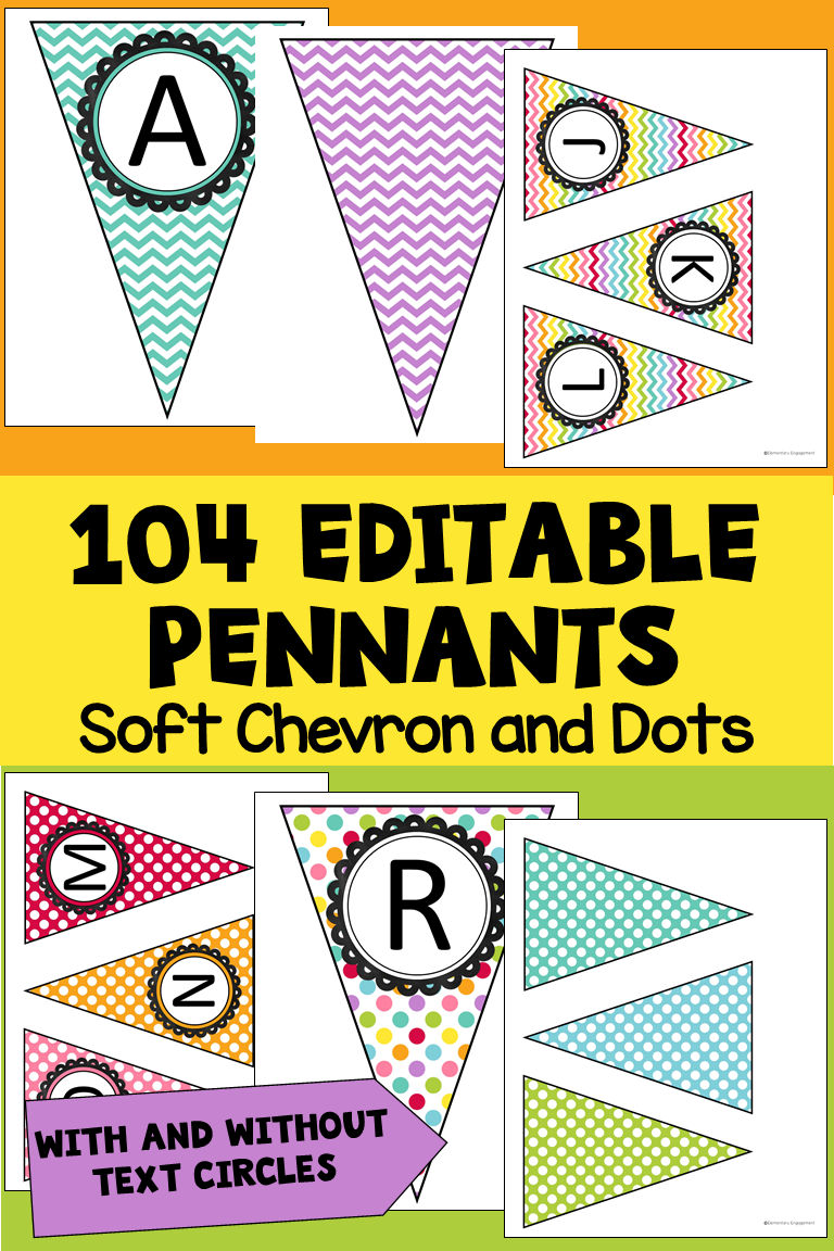 editable pennant banners in soft chevron u dots