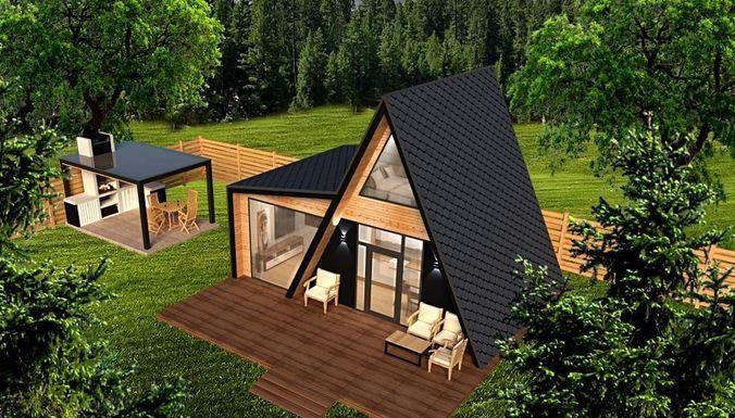 a frame cabin and outdoor kitchen furniture 3d model 3d model obj