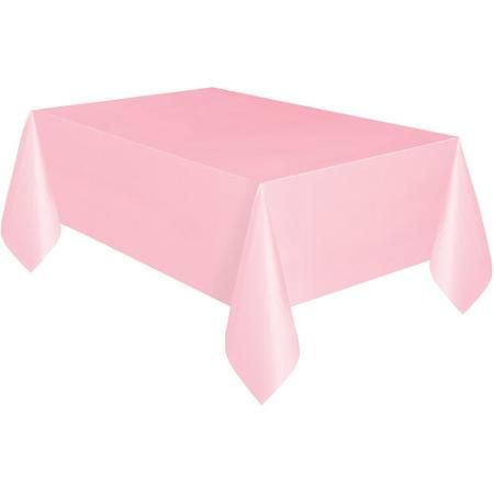 """Light Pink Plastic Table Cover, 108"""" x 54"""""""