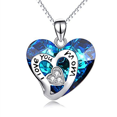 925 Sterling Silver I Love You Mom Heart Pendant Necklace 18