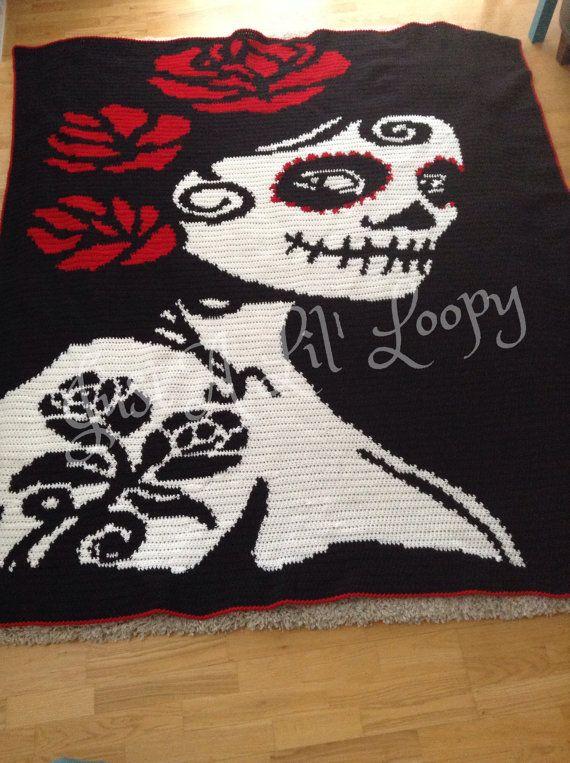 Crochet Sugar Skull Afghan | Schuhe | Crochet, Crochet skull und ...