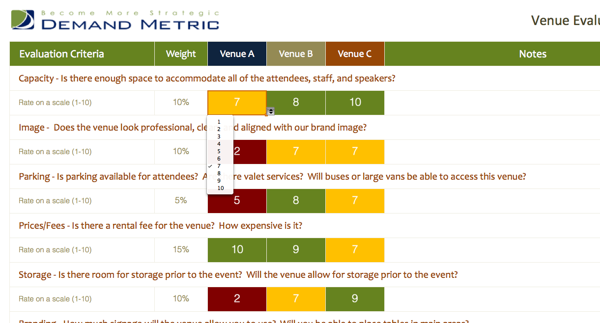 Venue Evaluation Matrix  A Matrix To Help You Compare Potential