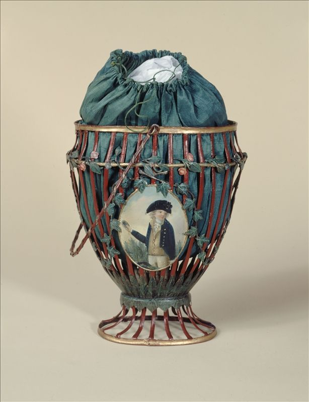 Bag, 1794 Openwork metal basket painted red, leaf green and gold; green silk taffeta bag; metal medallions painted on each side.