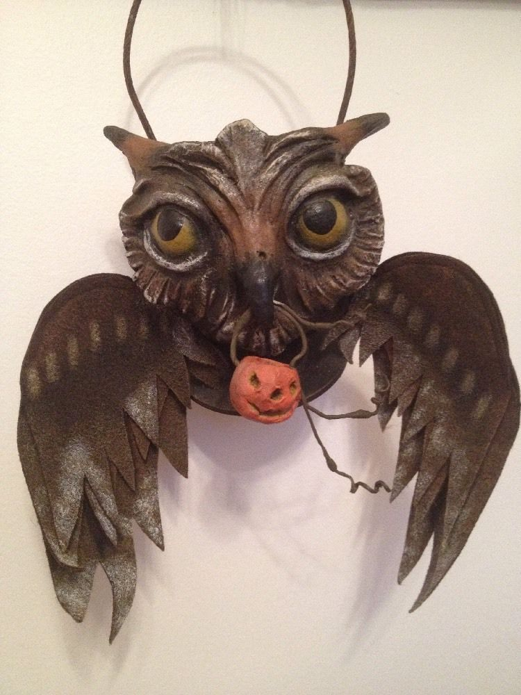 Bethany Lowe Vergie Lightfoot Halloween Flying Owl Bucket--retired - lowes halloween