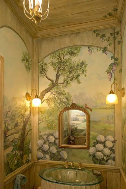 small powder room mural by Ani Brieger