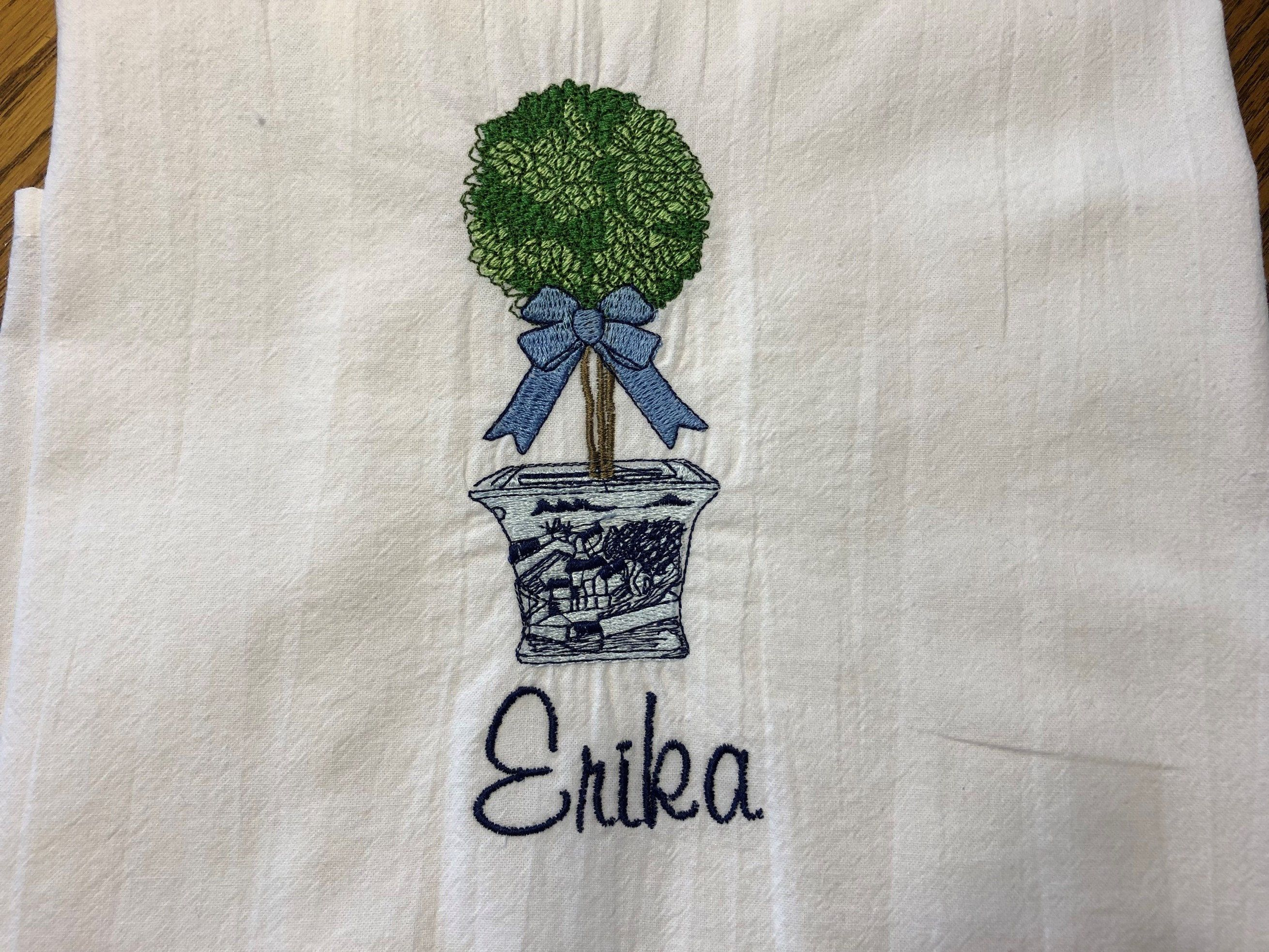 Personalized Topiary Embroidered Tea Towel Dish Towel Flour Sack