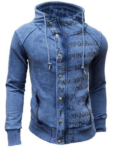 Nowosc Bluza Kurtka Cipo Baxx Z Kapturem Zamek S 7009370196 Oficjalne Archiwum Allegro Mens Outfits Clothes Denim Button Up