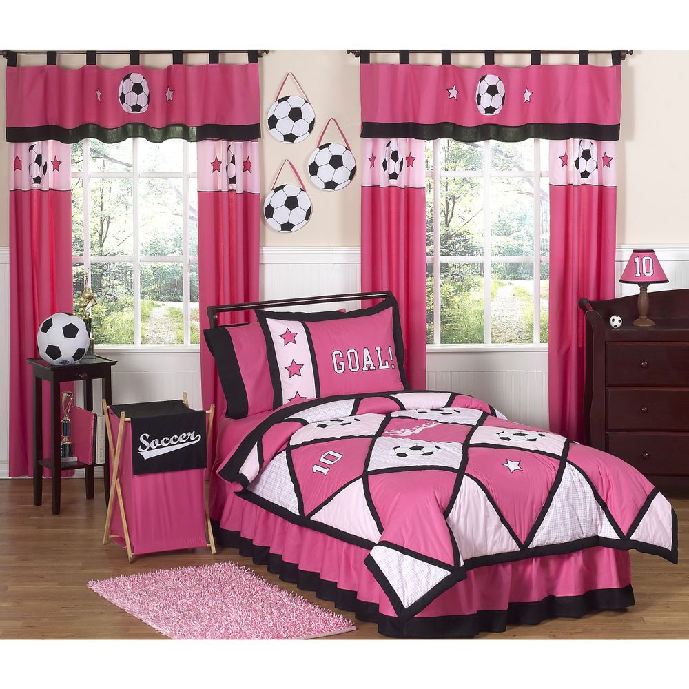 girls twin bedding comforter pink soccer theme goal 4 piece set