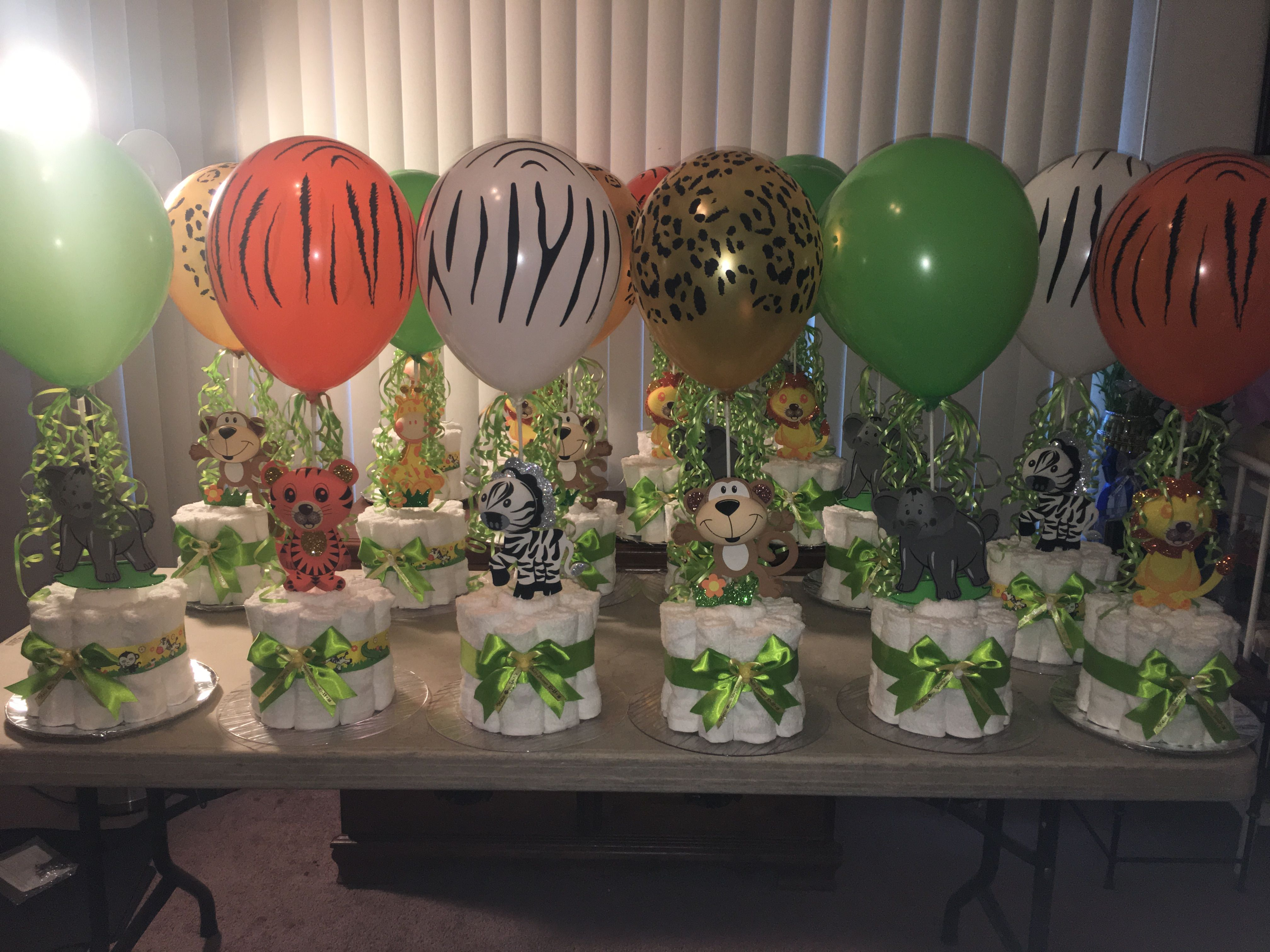 Safari centerpieces pinteres for Baby shower safari decoration