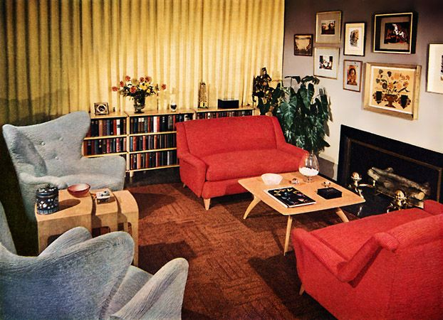 Art Nectar | A Look at 1950′s Interior Design | http://artnectar.com. Red on yellow curtains.