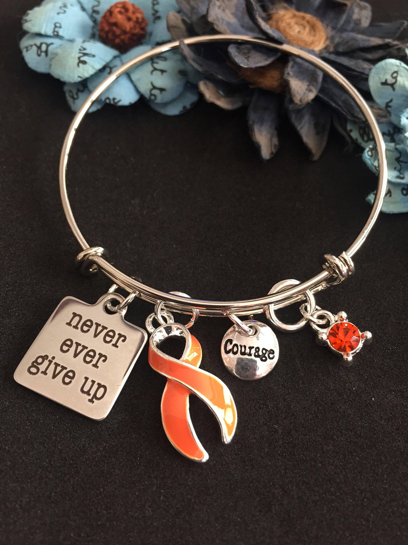 Orange Ribbon Bracelet Never Give Up Multiple Sclerosis Ms Warrior Kidney Spinal Cancer Leukemia Survivor Prader Willi Syndrome Gift By